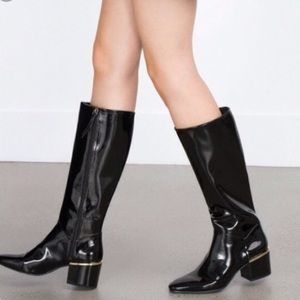Zara patent leather riding boot size 36